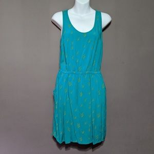 Teal Massimo Dress with Yellow Pattern